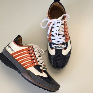 Dsquared 251 Low Sneakers Patent Stripe Sz 5.5 36